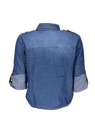 Collezione Koyu Mavi Kadın Crop Çift Cep Gömlek Uzun Kol Mavi
